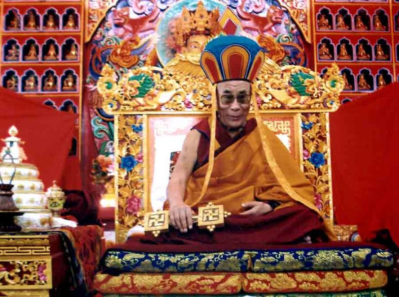 Dalai Lama on throne at Menri
