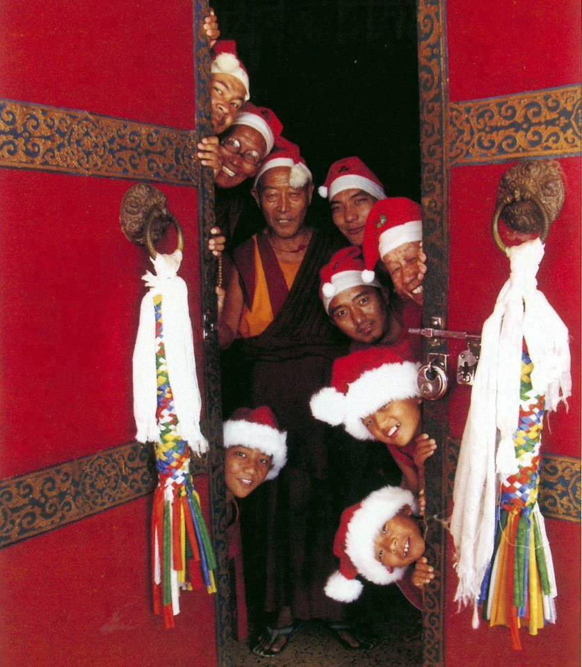 Monks in xmas hats