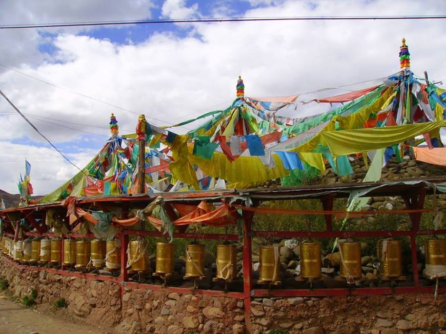 Bon prayer wheels in Kyungpo Tibet