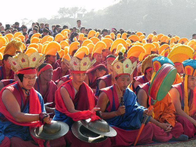 Yungdrung Bon monks during a public ritual