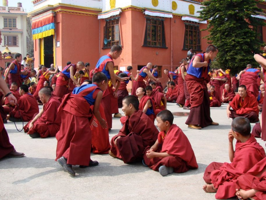 young and older monks practising debate