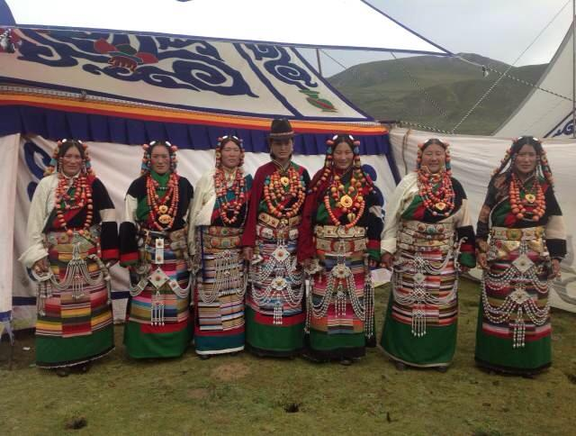Tibetan women in traditional dress in Tibet