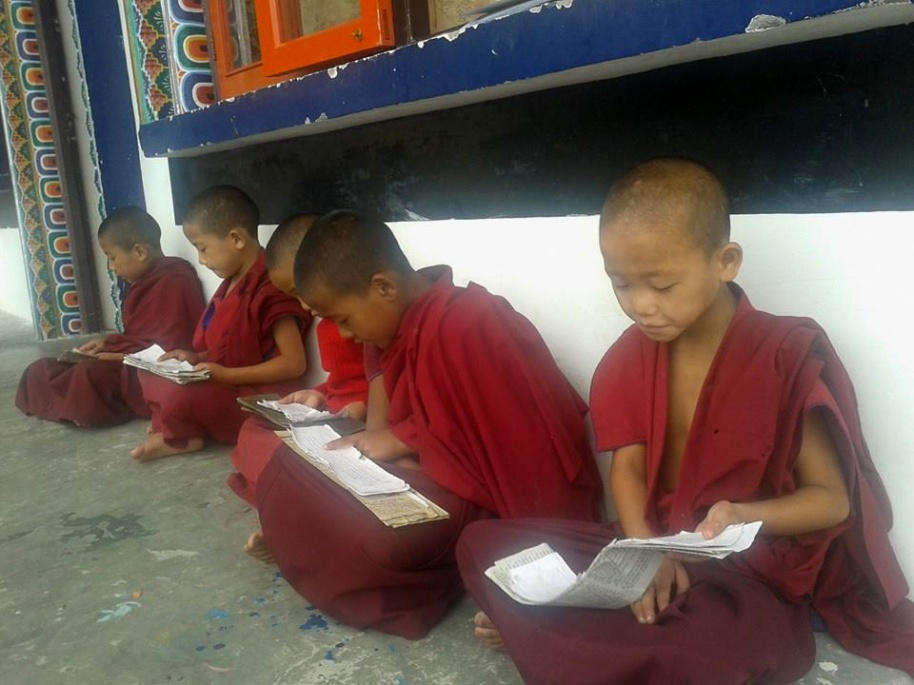 young monks in Sikkim learning to read