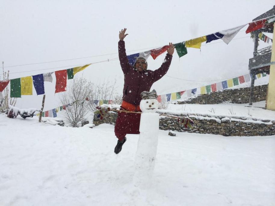 bhara Norbu with snowman