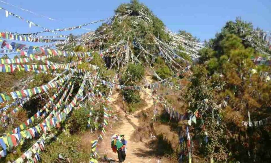 landscape of prayer flags in Nepal
