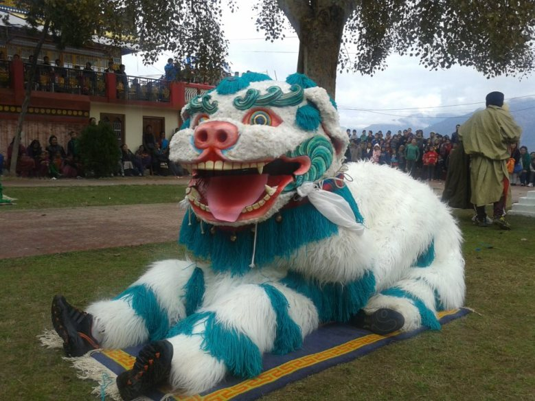 snow lion dance at Menri 2013