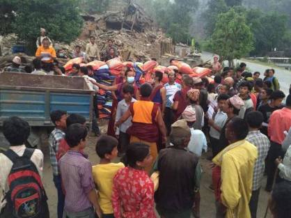 triten norbutse monks helping villagers after earthquake