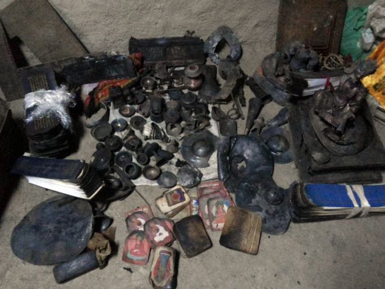 Srib phyogs temple in Tarap Dolpo burned ritual items