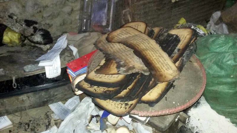 Srib phyogs temple in Tarap Dolpo burned texts 2